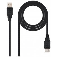CABLE USB 2.0 TIPO A/M-A/H NEGRO 1.0M NANOCABLE