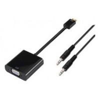 Conversor Mini HDMI a SVGA+Audio C/M-SVGA/H+3.5/H Negro