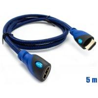 Cable HDMI Mallado v.1.4 M/H 30AWG Azul/Negro 5m BIWOND